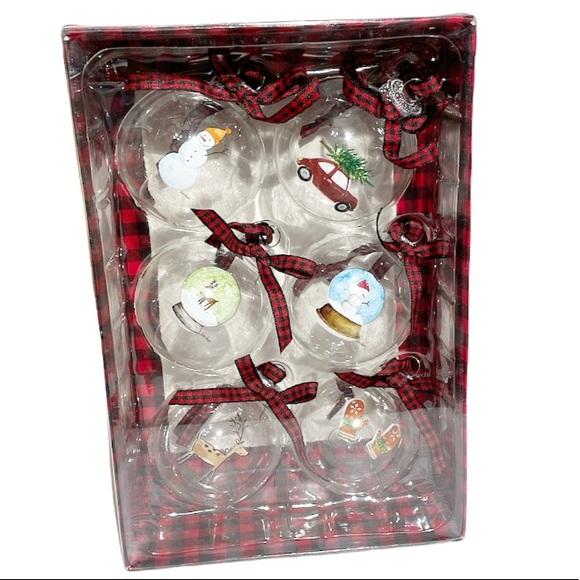 NEW RAE DUNN Christmas Ornaments Set of 6-Glass 🎄
